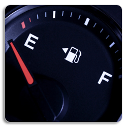 image of a fuel gauge pointing to empty