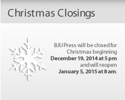 BJU Press holiday closings