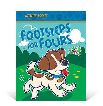 the cover of the Footsteps for Fours Activity Packet