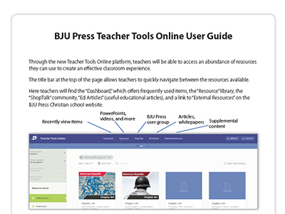 48e0dfcf9d3 BJU Press Teacher Tools Online